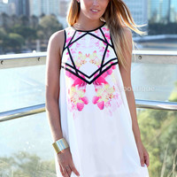 PRE ORDER - HINT OF LOVE DRESS (Expected delivery 28th November, 2013) , DRESSES, TOPS, BOTTOMS, JACKETS & JUMPERS, ACCESSORIES, SALE, PRE ORDER, NEW ARRIVALS, PLAYSUIT, COLOUR,,White,Print Australia, Queensland, Brisbane