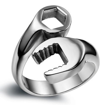 classic man jewelry fashion simple design rings Stainless Steel Combination Wrench Screw Men  Rings For Men