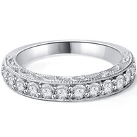 VS .40Ct Diamond Vintage Wedding Ring Filigree Antique Style Stackable Anniversary Band 14k White Gold Size 4-9