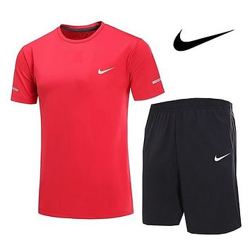 Nike Trending Men Stylish Print Leisure Breathable Quick-Drying Sport Running Short Sleeve Shorts Two Piece Red I13110-1