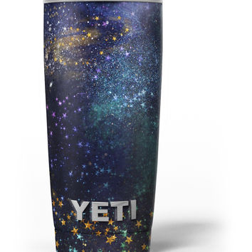 Swirling Multicolor Star Explosion Yeti Rambler Skin Kit