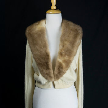 Vintage 1950s Cashmere Sweater with Mink Fur Collar