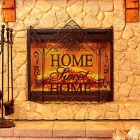 Fireplace Screen Home Sweet Home Sentiment Country Rustic Scrolled Hearth Decor