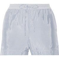 T by Alexander Wang - Striped crepe de chine shorts