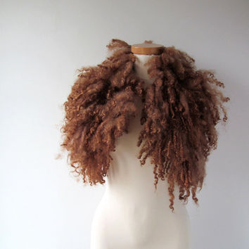 Felt Fur Curly Collar scarf Brown Hand Felted Pure Real Wool Fleece by Galafilc Organic and Cruelty Free