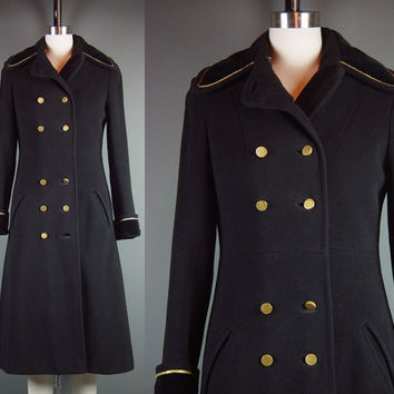 70s Black Military Coat Vintage 1970s Princess Sergeant Sgt. Pepper Steampunk Wool Long Wool Winter XS XSmall