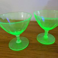Pair Ribbed Uranium Glass Champagne Glasses, Uranium Glass Sherbet Glasses, Ribbed Vaseline Glass Champagne Glasses, Vaseline Sherbets