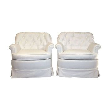 Pre-owned Hollywood Regency Tufted Club Chairs - A Pair