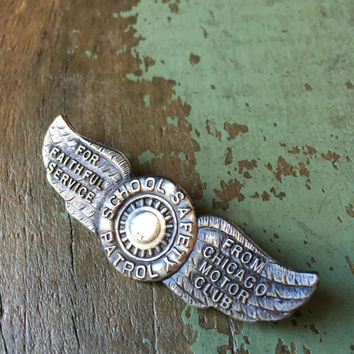 Vintage Chicago Motor Club Pin, Winged Tire Pin, Chicago School Safety Patrol Lapel Pin