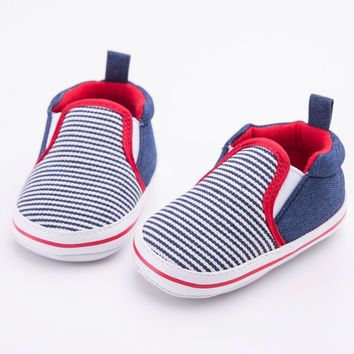 0-12 M Toddler Newborn Infant Baby Boys Girls Crib Shoes Dark Blue Striped Pattern First Walkers Soft Bottom Baby Shoes NW