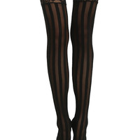 Blackheart Black Stripe Lace Thigh Highs