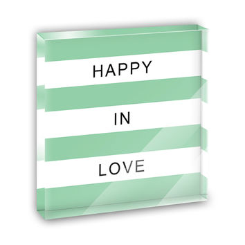 Happy in Love Mint Mini Desk Plaque and Paperweight