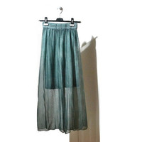 Chiffon Maxi Skirt Womens High Waisted Sheer Skirt Medium M