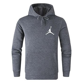 Jordan Trending Couple Leisure Long Sleeve Hoodie Sweater Pullover Top Sweatshirt Grey