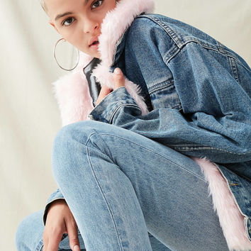 Urban Renewal Faux Fur Trimmed Denim Jacket | Urban Outfitters