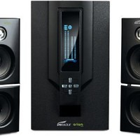 Arion Legacy AR504LR-BK 2.1 Channel Speaker System with Subwoofer & Remote for MP3, CD, PC, Video Game Consoles, & Home Audio Systems - Black, 70 Watts