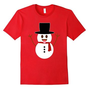 Snowman Emoji Sticking Out Tongue Christmas T-Shirt for Kids