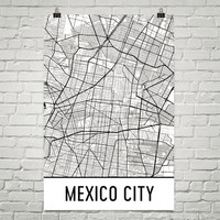 Mexico City Street Map Poster