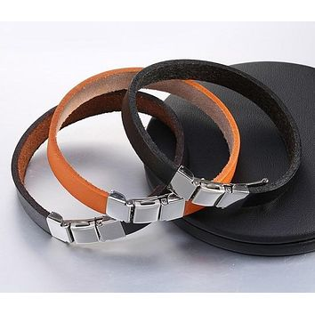 3 Buckle Genuine Leather Belt Bracelet