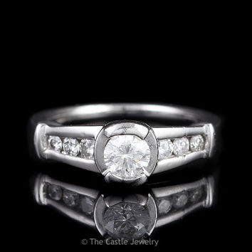 Platinum Engagement Ring .35ct Tension Set Round Diamond Graduated Diamond Accents