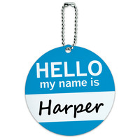 Harper Hello My Name Is Round ID Card Luggage Tag