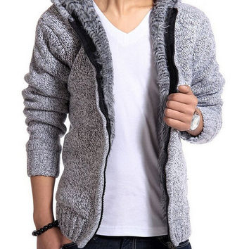 Men's Zip Up Winter Warm Knitwear Hooded Wool Sweater Cardigan