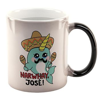 Christmas Narwhal Narwhay No Way Jose All Over Heat Changing Coffee Mug