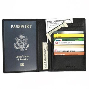 Fancystyle  Travel RFID Passport Protectors Holders Black Leather Rfid Blocking Wallet Security Cover for Men