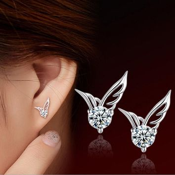 Women Sterling Silver Angel Wings Crystal Fashion Stud Ear Earrings Jewelry fu