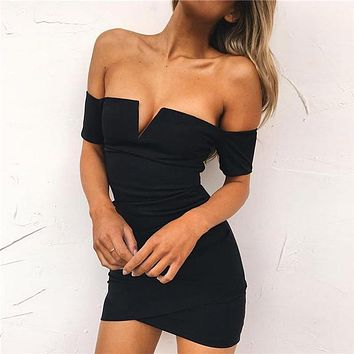 Fashion Off Shoulder Short Sleeve V Word Solid Color Simple Mini Dress