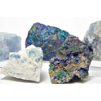 Azurite Calcite Lazulite Peacock ore Blue Quartz Earth Nuggets Blue Mineral Collection
