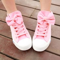 Leisure lovely bowknot canvas shoes