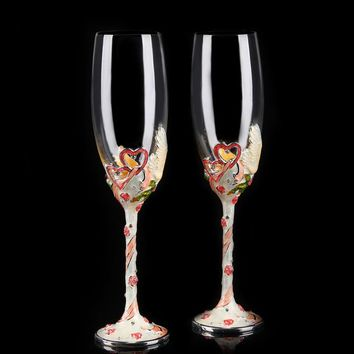 Luxury creative gifts 2pcs/set wedding Enameled glasses crystal goblet cup