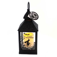 Halloween GLITTERED WITCH LANTERN Metal Lighted 6002882