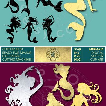 Mermaid Silhouettes Clip Art - SVG, eps, DXF, PNG Cut Files - Digital Downloads for e-cutting machines, Silhouette Studio, Cricuit - cv-165