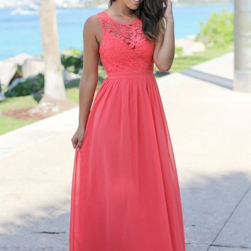Coral Crochet Maxi Dress with Open Back