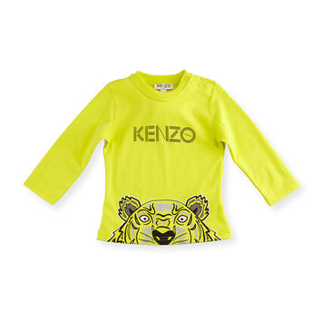 Long-Sleeve Crew-Neck Jersey Tee, Bright Yellow, Size 12M-2Y,