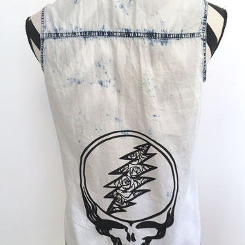 Small Jean Top Grateful Dead Stealie Roses