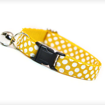 """Cat Collar - """"Starling"""" - Mustard Yellow with White Polka Dots"""