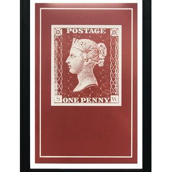 """Penny Red Postage Stamp Art Poster - 13x19"""""""