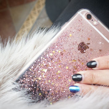 iphone 7 case, Ombre Black rose gold, glitter acrylic iphone 7 case, iphone 7 plus case ,iphone 6s case, iphone 6 case, iphone 6plus case