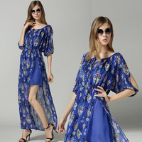 Blue Floral Print Cutout Sleeve Overlay Chiffon Maxi Dress