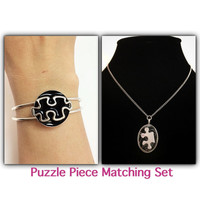 Puzzle piece jewelry / puzzle bracelet  and necklace / autism awareness jewelry / puzzle piece jewelry set / puzzle pendant