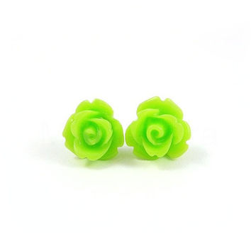Lime Green Rose Earring Studs - Neon Jewelry - Neon Green Flower Earring Posts - Floral Jewelry