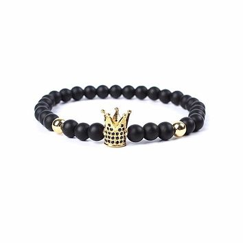 Men's Natural Stone Bead Crowned Warrior Bracelets