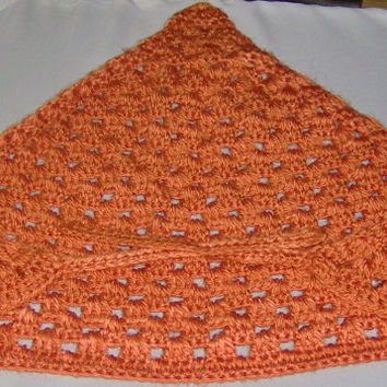 Orange Crochet Kerchief, bandana, head scarf, head wrap