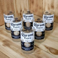 Corona Extra 8 ounce Juice Glasses made from beer bottles. Six Pack Special