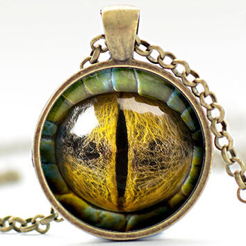 Creature Eye Necklace, Third Eye Jewelry, Evil Eye Charm, Eyeball Pendant (1361)