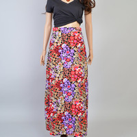 1970s WIldflower Skirt / Vintage Maxi Skirt / Psychedelic / Purple & Orange / LSD / Size Small