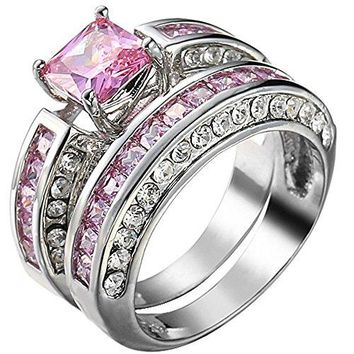 XAHH Jewelry Womens 2 pcs 925 Sterling Silver Plated Pink Cubic Zirconia Wedding Engagement Ring Set